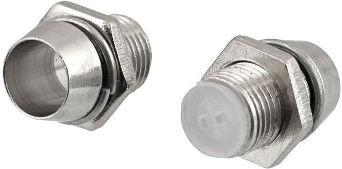 Objímka LED 5mm se závitem,pochromovaná mosaz