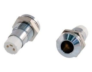 Objímka LED 5mm se závitem, chromovaná, dvojdílná