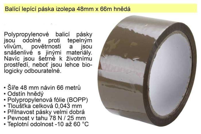 Lepící páska - izolepa hnědá 48mm/66m