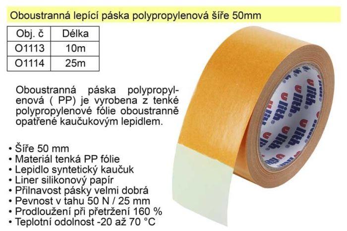 Lepící páska oboustranná polypropylenová 50mmx25m