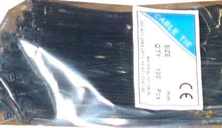 Stahovací páska 3,6x250mm černá, balení 100ks