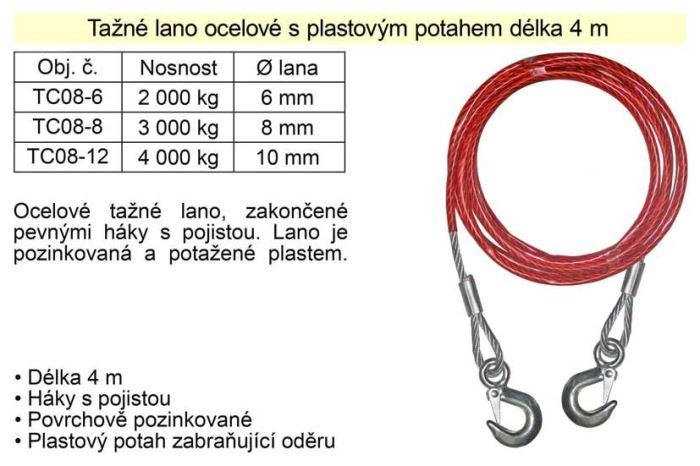 Tažné lano 4m 2000kg, ocelové s plastovým potahem s oky.