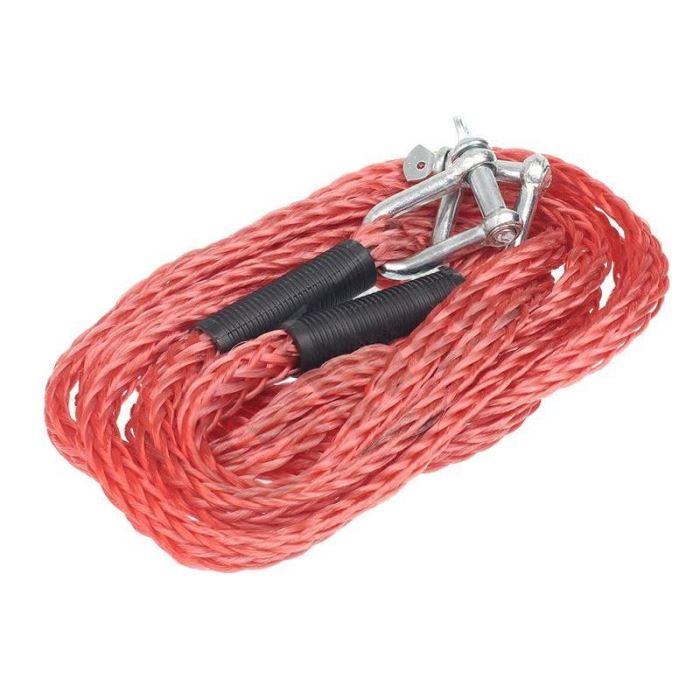 Tažné pružné lano 4m 3000Kg, červené s oky