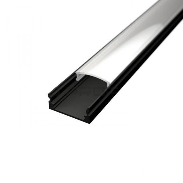 Alu profil SURFACE 1 BLACK s difuzorem pro LED pásek 8-10mm -délka 2m