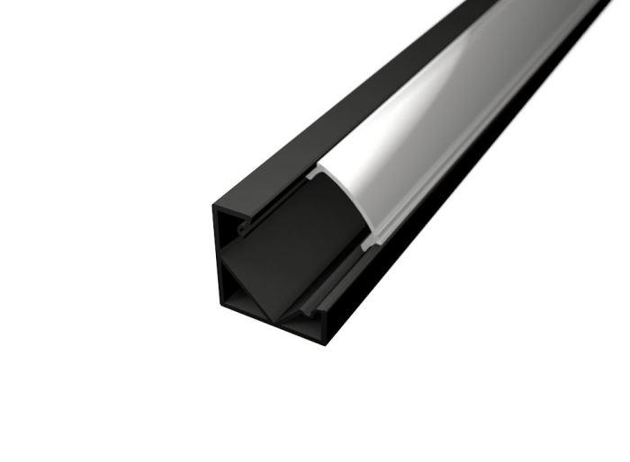 Alu profil CORNER 1 BLACK s difuzorem MILK  pro LED pásek 8-10mm-1metr