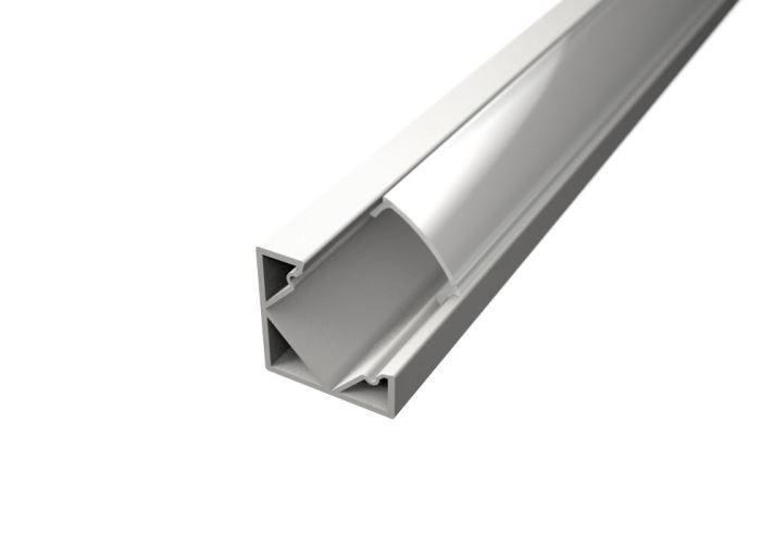 Alu profil CORNER 1 WHITE s difuzorem MILK  pro LED pásek 8-10mm-2metr