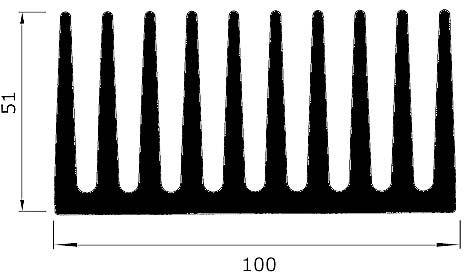 Chladič Al ZH2533 100x51x50mm