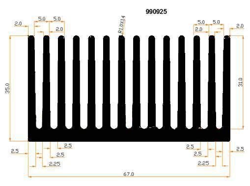 Chladič Al 990925 67x35x3000mm