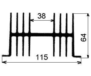 Chladič Al ZH0137 115x64x3000mm