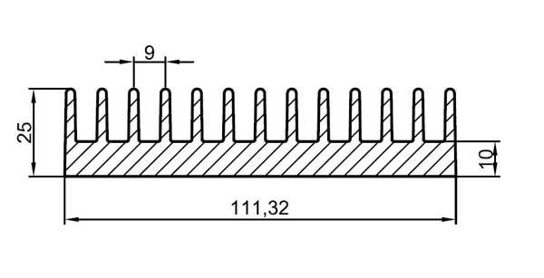 Chladič Al ZH0610 111x25x3000mm