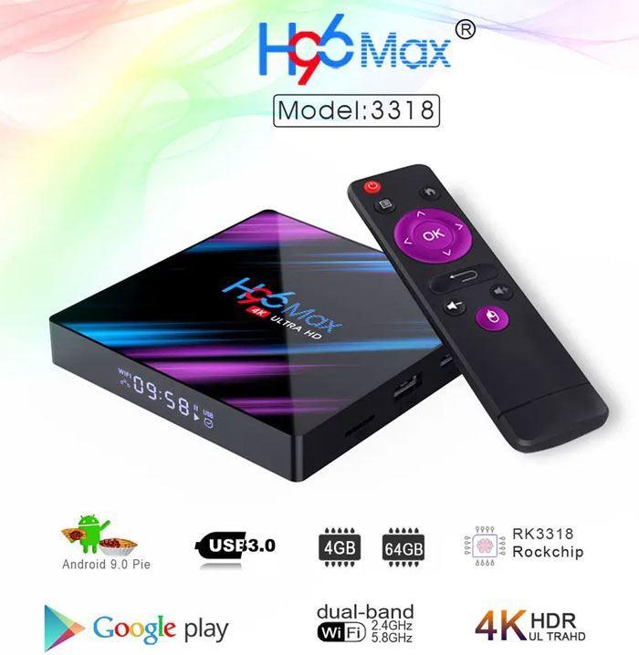 Smart TV box H96 MAX RK3318, 4GB RAM, 64GB ROM
