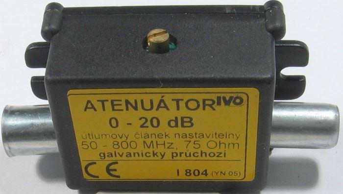 Útlumový článek 0-20dB nastavitelný, pásmo 50-800MHz, kon.IEC