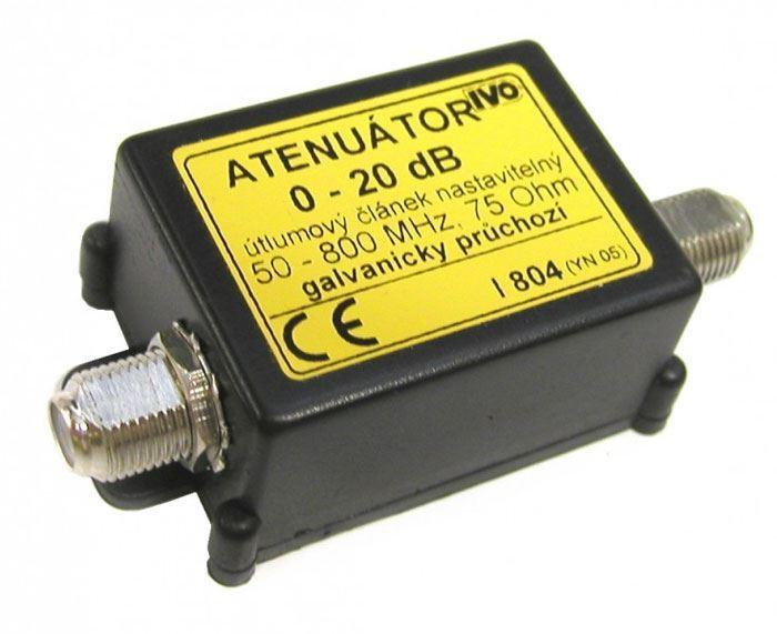 Útlumový článek 0-20dB nastavitelný, pásmo 50-800MHz, kon.F