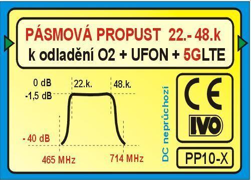 Pásmová propust UHF (22-59k), PP08-X k odladění O2+UFON+LTE