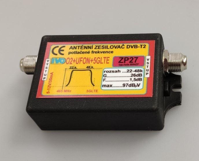 Anténní zesilovač 26dB DVB-T2 nízkošumový s potlačením 02+UFON+5G LTE