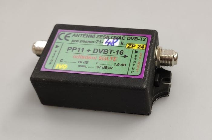 Anténní zesilovač 16dB DVB-T2 s potlačením 5G LTE