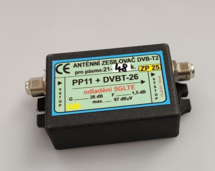 Anténní zesilovač 26dB DVB-T2 s potlačením 5G LTE