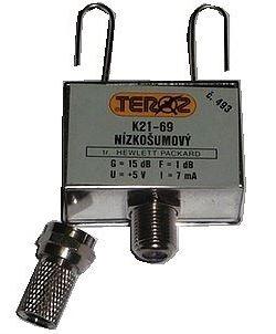 Anténní zesilovač pásmový  K21-69  se ziskem 27dB, TEROZ 433F