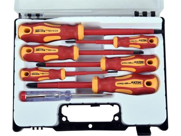 Šroubováky elektrikářské se zkoušečkou CrV, EXTOL PREMIUM 7ks