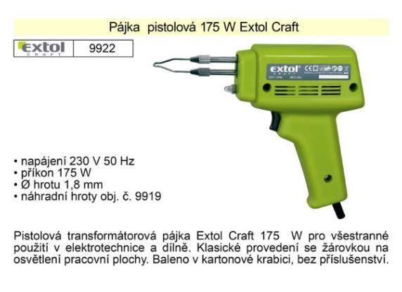 Pistolová páječka 175W EXTOL Craft