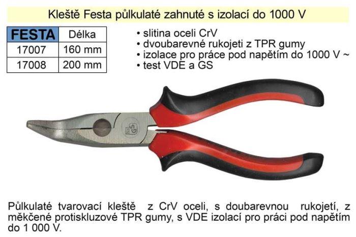Kleště půlkulaté zahnuté, 200mm, FESTA 17008