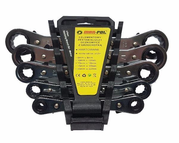 Ploché ráčnové klíče 5ks 6-22mm MAR-POL - poškozený plastový obal
