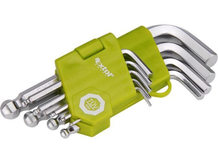 Klíče imbus 1,5-10mm s kulovou hlavou EXTOL, sada 9ks