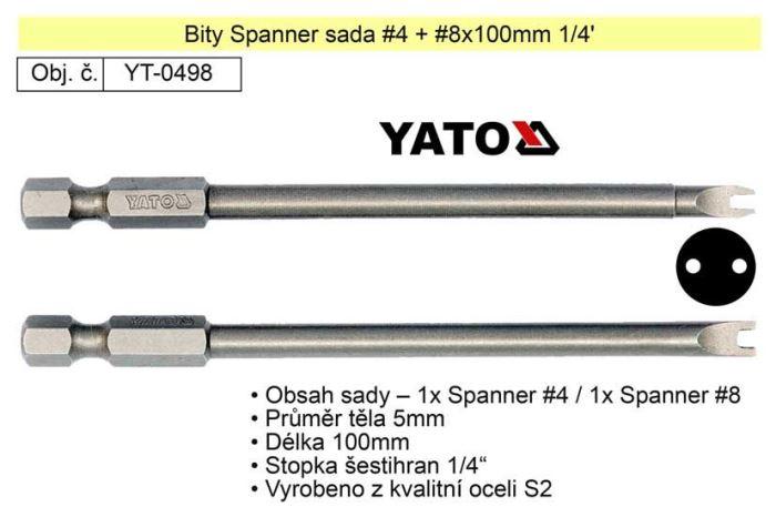 "Sada bitů Spanner č.4 + č.8 x100mm 1/4"""