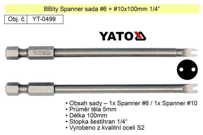 "Sada bitů Spanner č.6 + č.10 x100mm 1/4"""