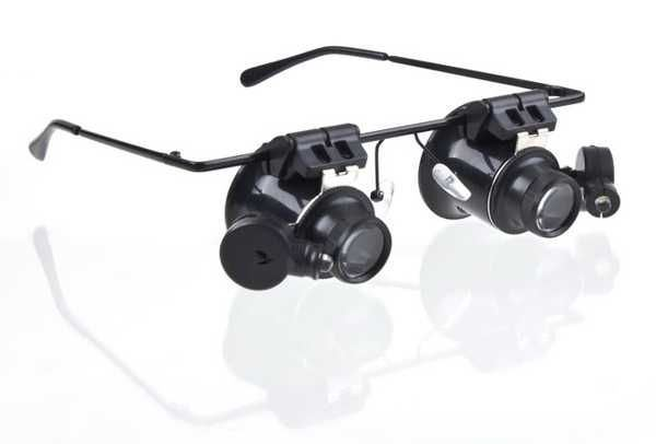 Zvětšovací brýle mikroskop 20x s osvětlením
