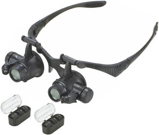 Zvětšovací brýle - binokulární lupa se zvětšením 10-25x a osvětlením