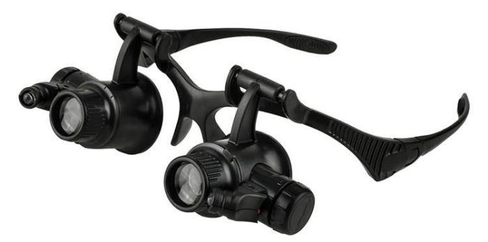 Brýle s lupou 20x s podsvícením
