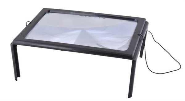 Lupa v rámečku s LED světlem, Čtecí - pracovní lupa A4