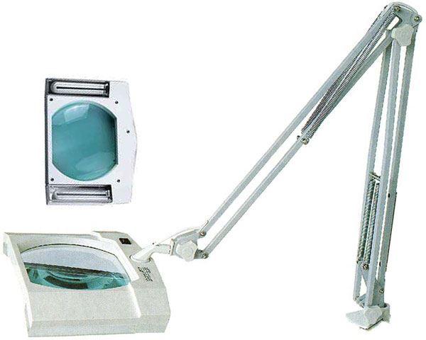 Stolní lupa 8609-D, 190x155mm, 5 dioptrií, 2x zářivka 9W
