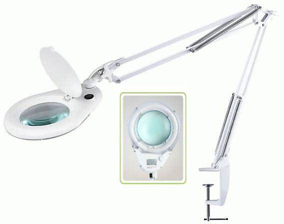 Stolní lupa se zářivkou ZD-129A, 5 dioptrií, uchycení svorkou
