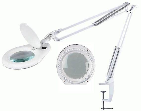 Stolní lupa LED ZD-129A ,5 dioptrií, uchycení svorkou, po opravě