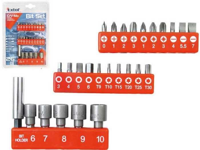 Hroty, sada 26ks nástrčné hlavice 6-7-8-9-10mm, EXTOL CRAFT