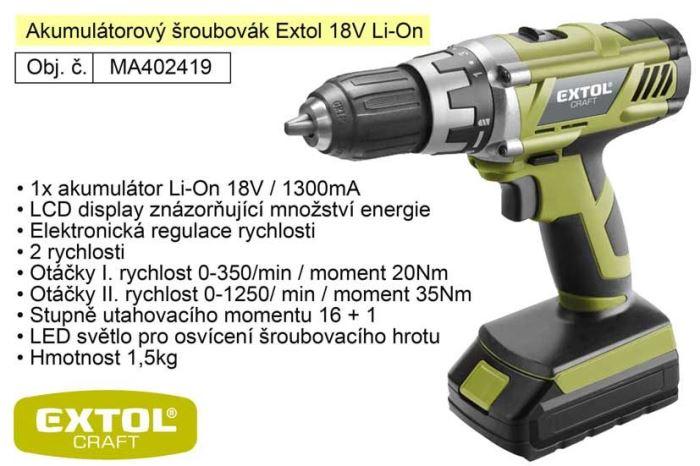 Aku vrtačka EXTOL  Craft 18V,1x Aku 1300mAH, regulace otáček.