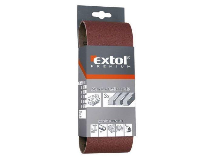 Plátna brusná nekonečný pás, bal. 3ks, P80, 75x533mm, EXTOL PREMIUM