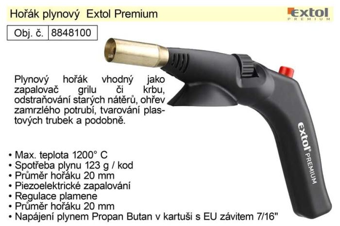 """Plynový hořák Extol Premium na plynové kartuše se EU závitem 7/16"""""""