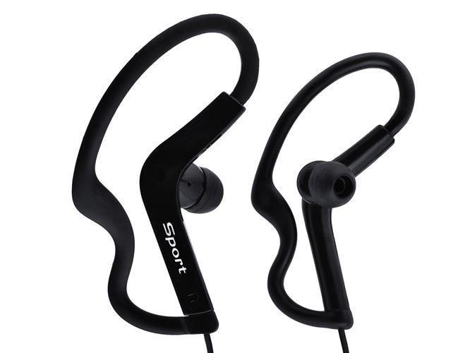 Sportovní sluchátka, jack 3,5mm, černé