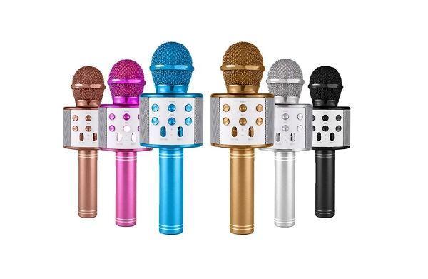 Bezdrátový bluetooth karaoke mikrofon, kulatý, Gold