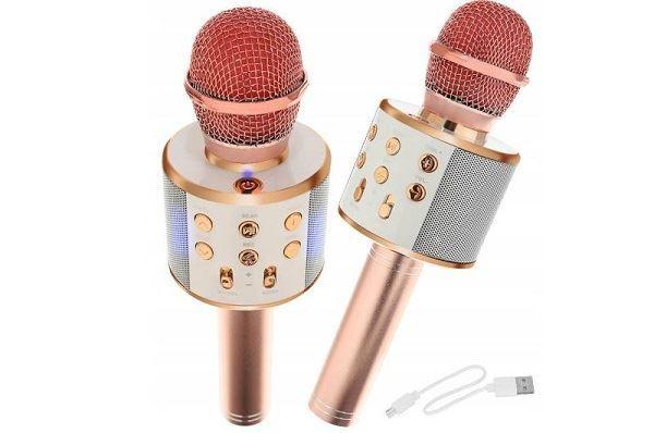 Bezdrátový bluetooth karaoke mikrofon, kulatý, Rose Gold