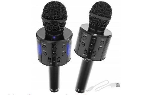 Bezdrátový bluetooth karaoke mikrofon, kulatý, Black