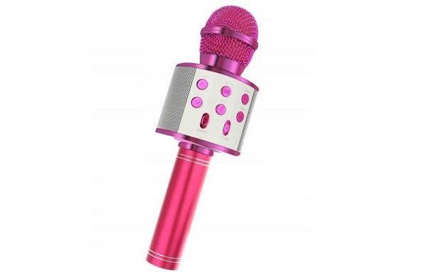 Bezdrátový bluetooth karaoke mikrofon, kulatý, Pink
