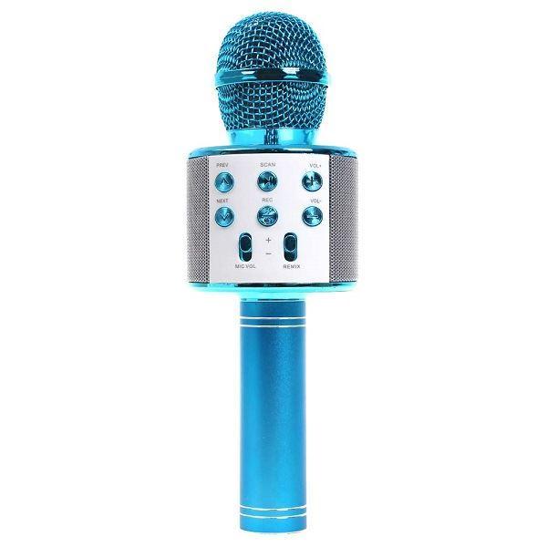 Bezdrátový bluetooth karaoke mikrofon, kulatý, Blue