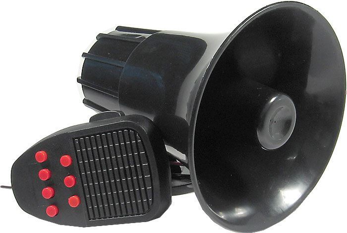 Siréna 30W s mikrofonem, 115dB/m 6-16V/2A, 7 tónů+mluvené slovo