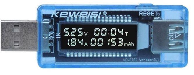 USB  tester KWS-V20, V-A metr a měřič kapacity 4-20V/0-3A DC