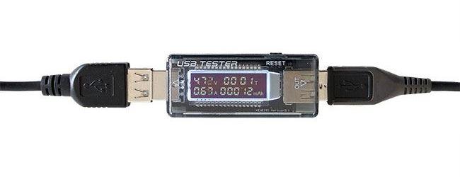 USB  tester - voltmetr a ampérmetr 3,5-20V/0-3A DC, AK306C