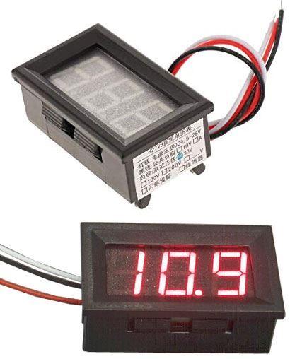 Voltmetr panelový LED červený,  0-30V, LC18, 3 vývody